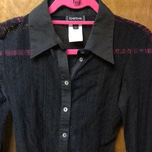 Bebe , small laced long sleeve shirt